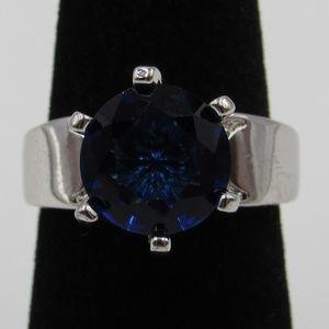 Vintage Size 6.25 Sterling Blue CZ Diamond Ring
